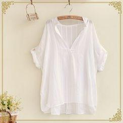 Fairyland - V-Neck Striped Short Sleeve Shirt