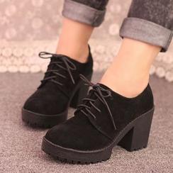 IYATO - 粗跟系带鞋