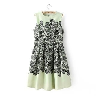 JVL - Floral Lace-Print Chiffon Sleeveless Dress