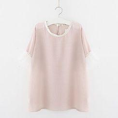 Meimei - Lace Trim Short Sleeve Chiffon Blouse