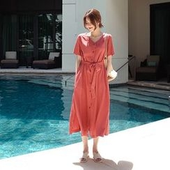 mimi&didi - Short-Sleeve Long Shirtdress with Sash