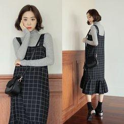 WITH IPUN - Tie-Shoulder Ruffled-Hem Checked Midi Dress
