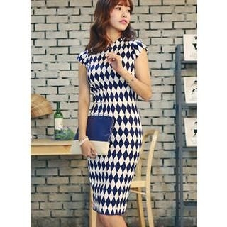 HOTPING - Cap-Sleeve Argyle Sheath Dress
