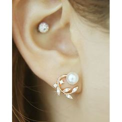 Miss21 Korea - Rhinestone Faux-Pearl Earrings