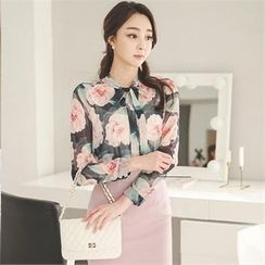 ode' - Tie-Neck Floral Print Blouse