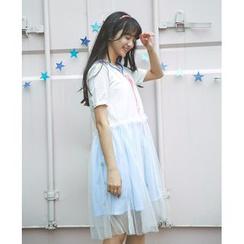 Moricode - Short-Sleeve Sheer Panel Dress