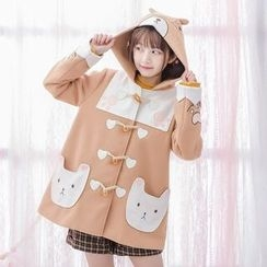 Moriville - Cat Applique Hooded Toggle Jacket