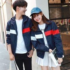 We Belong - Couple Matching Colour Block Hooded Jacket