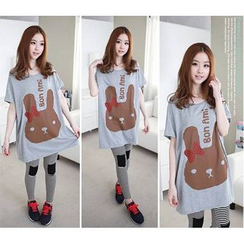 Dream Girl - Maternity Rabbit Print Short Sleeve T-Shirt