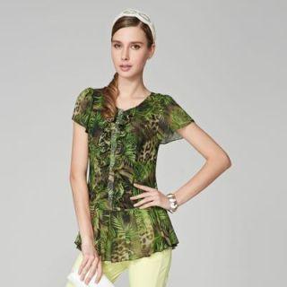 O.SA - Short-Sleeve Printed Ruffle Blouse