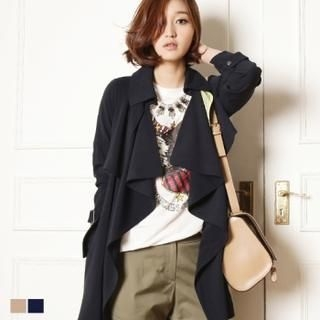 MAGJAY - Open-Front Trench Coat with Belt