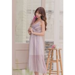 Dalkong - Sleeveless Long Chiffon Dress