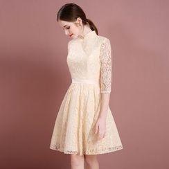 静世奇缘 - 伴娘中袖蕾丝连衣裙