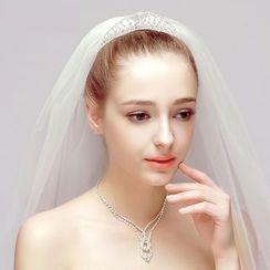 Puru Lia - Bridal Set: Rhinestone Tiara + Necklace + Earrings + Wedding Veil