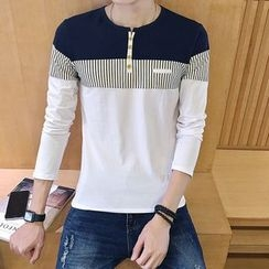 Alvicio - Panel Split-neck Long-Sleeve T-shirt