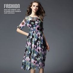 Ozipan - Elbow-Sleeve Printed Dress