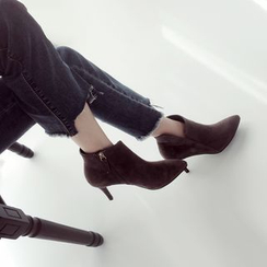 Linda Lane - Genuine-Leather Kitten-Heel Ankle Boots