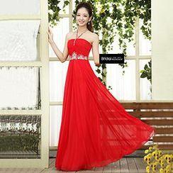 Bridal Workshop - Halter Neck Jeweled A-Line Evening Gown