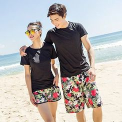 Sunset Hours - Couple Matching Floral Print Shorts
