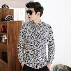 Gurun Vani - Long-Sleeve Floral Corduroy Shirt