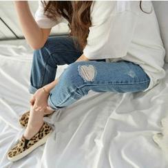 Denim Fever - Distressed Washed Jeans
