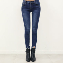 DANI LOVE - Cutout-Hem Brushed-Fleece Lined Skinny Jeans