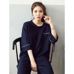 LOLOten - Contrast-Trim 3/4-Sleeve T-Shirt