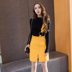 Neon Nite - Set: Long-Sleeve Knit Top + Single Strap Suspender Skirt