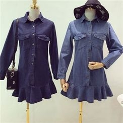 Octavia - Ruffle Hem Denim Shirtdress