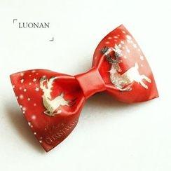 Luonan - 小鹿印花蝴蝶结领带