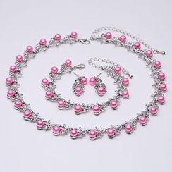 Okinlulu - Set: Faux Pearl Necklace + Bracelet + Earrings