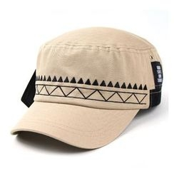 Ohkkage - Patterned Color-Block Military Cap