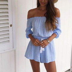 Flobo - Off-Shoulder Drawstring Playsuit