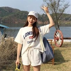 QNIGIRLS - Set: Lettering T-Shirt + Drawstring-Waist Shorts