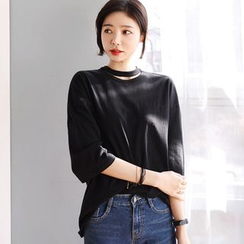 DEEPNY - Choker-Neck 3/4-Sleeve T-Shirt
