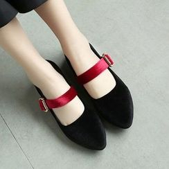 JY Shoes - Buckled Pointed Velvet Flats