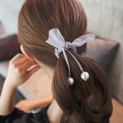Seoul Young - Beaded Bow-Accent Hair Tie