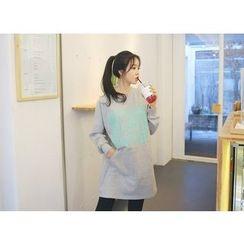 Envy Look - Kangaroo-Pocket Lettering Pullover Dress