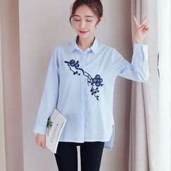 Cobogarden - Embroidered Pinstripe Long-Sleeve Blouse