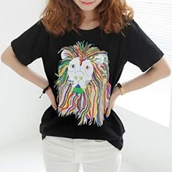 Ranee - Short-Sleeve Lion-Print T-Shirt