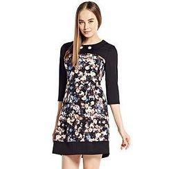 O.SA - 3/4-Sleeve Floral-Panel Dress