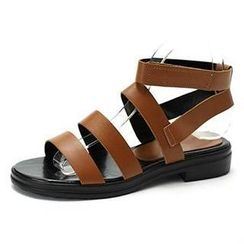 MODELSIS - Genuine Sheepskin Velcro Ankle-Strap Sandals