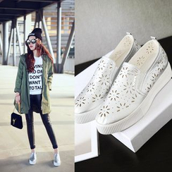Shoes Galore - Perforated Platform Slip Ons