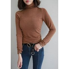 Miamasvin - Turtle-Neck Slim-Fit Top