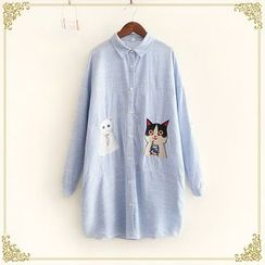 Fairyland - Cat Embroidered Striped Long Shirt