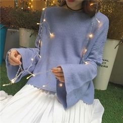 Bloombloom - Plain Bell-Sleeve Sweater