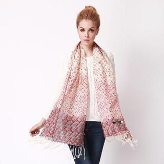 RGLT Scarves - Floral Dotted Wool Scarf