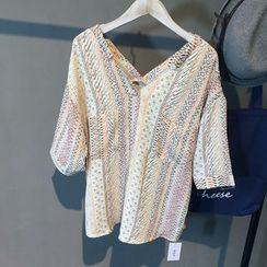 Glovon - Patterned V-neck Chiffon Blouse