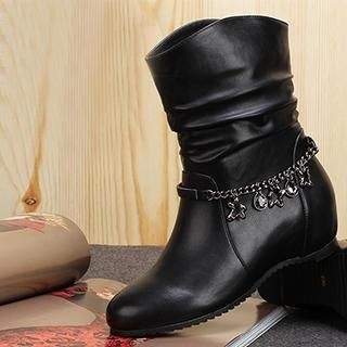 Exull - Chain-Strap Wedge Short Boots
