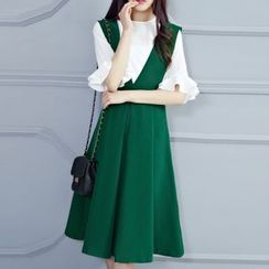 Cobogarden - Set: Frill Sleeve Blouse + Pleated Sleeveless Chiffon Dress